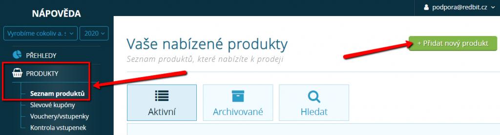 Tlačítko pro přidání nového produktu