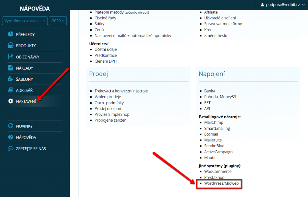 Propojení s WordPressem a Miowebem v SimpleShopu