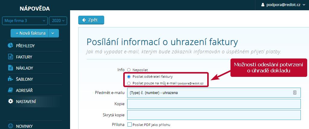 Možnosti odeslání potvrzení o uhrazení dokladu ve Vyfakturuj.cz