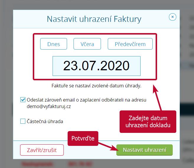 Zadání datumu uhrazení dokladu