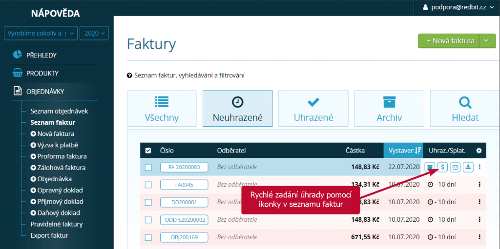 Ruční označení uhrazení dokladu pomocí ikonky v seznamu faktur