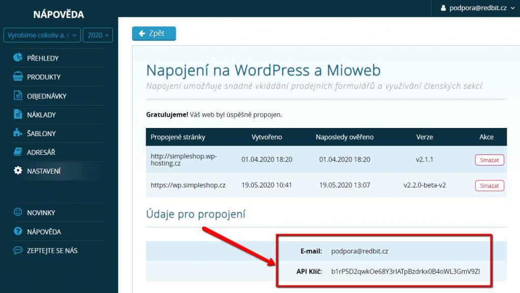 Údaje pro propojení SimpleShopu s WordPressem a Miowebem