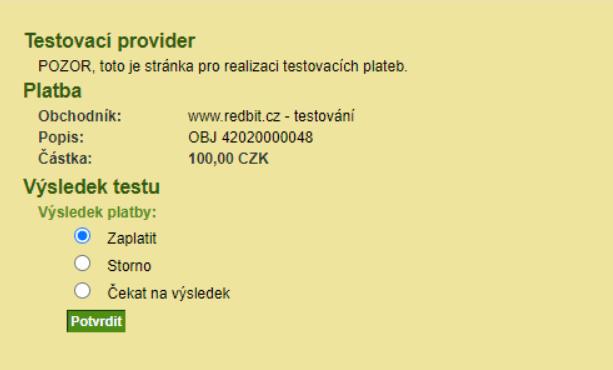 ComGate testovací rozhraní