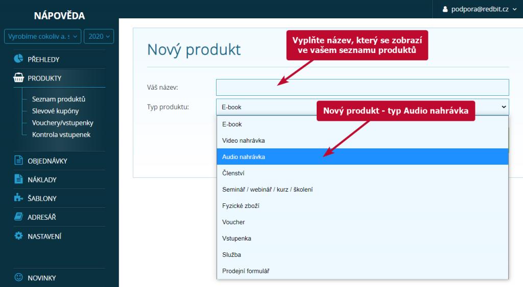 Vložení nového produktu - typ audio nahrávka