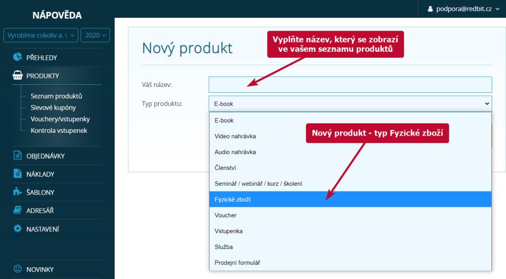 Vložení nového produktu - typ fyzické zboží