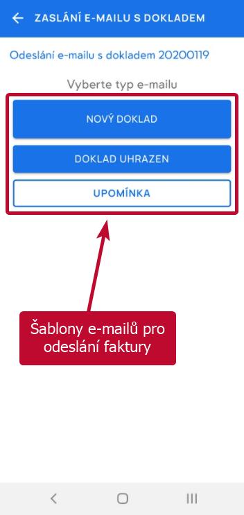 Výběr z šablon e-mailů pro odeslání vystavené faktury