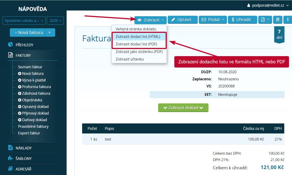 Zobrazení dodacího listu ve formátu HTML nebo PDF