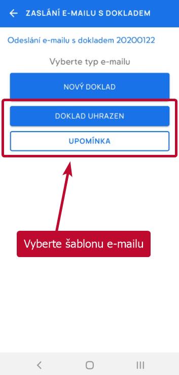 Výběr šablony e-mailu