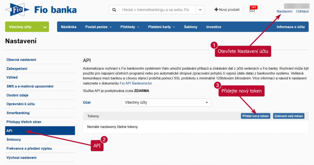 Fio banka - nastavení - API