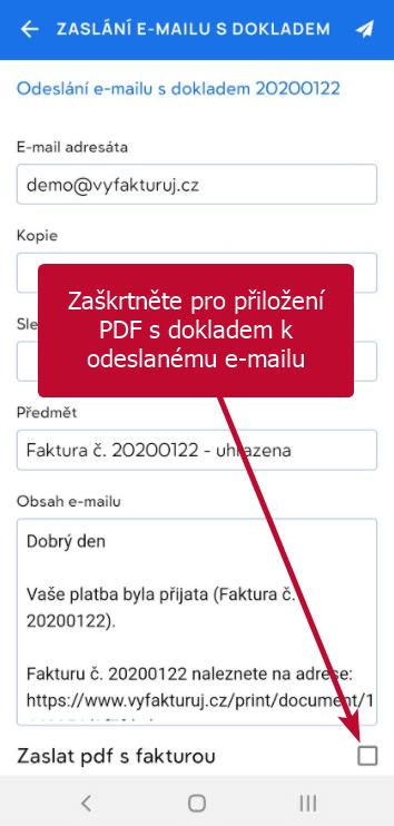 Přiložení faktury v pdf k odeslanému e-mailu