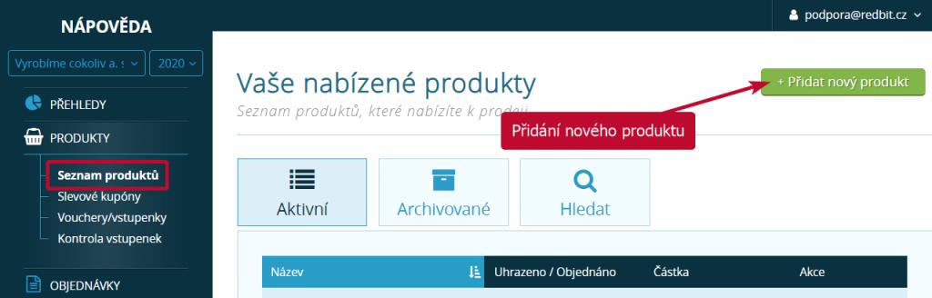 Přidání nového produktu v SimpleShopu