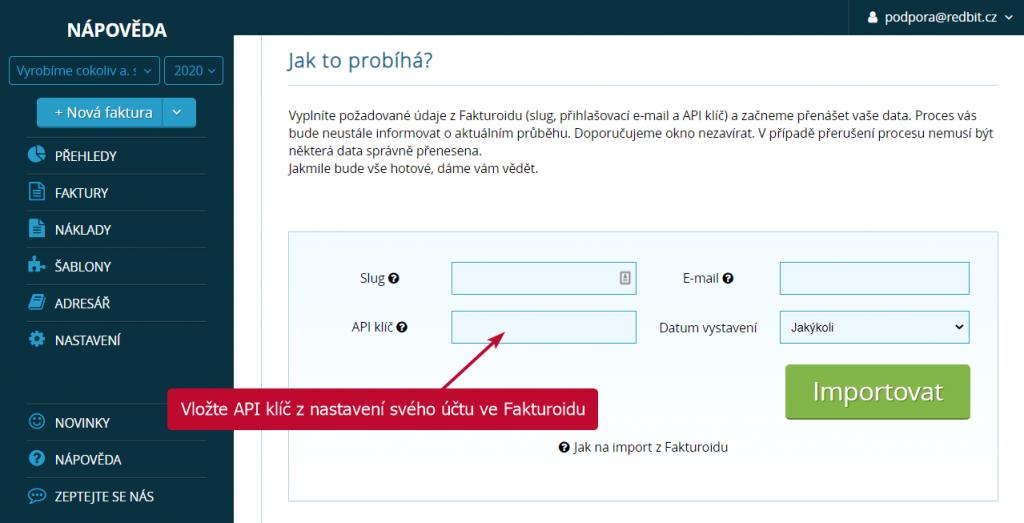 Vložení API klíče do nastavení importu