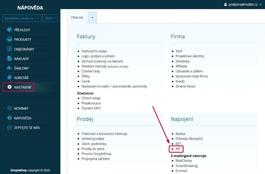 Informace o API v nastavení SimpleShopu
