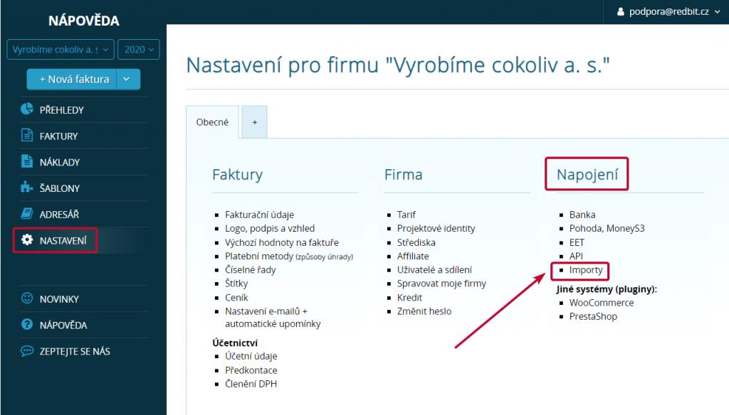 Import v nastavení Vyfakturuj.cz