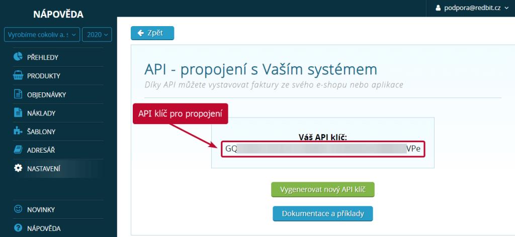 API klíč pro propojení