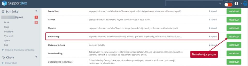 Instalace SimpleShop pluginu v SupportBoxu