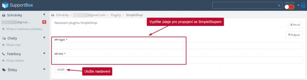 Vložení údajů pro propojení SimpleShopu a SupportBoxu