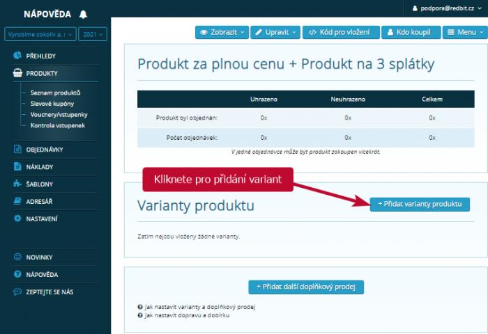 Přidání variant k produktu