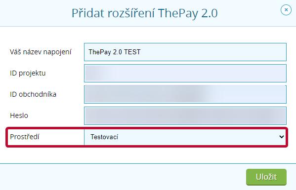 ThePay - testovací rozšíření