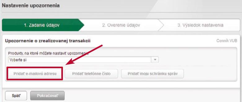 VÚB banka Přidání e-mailové adresy
