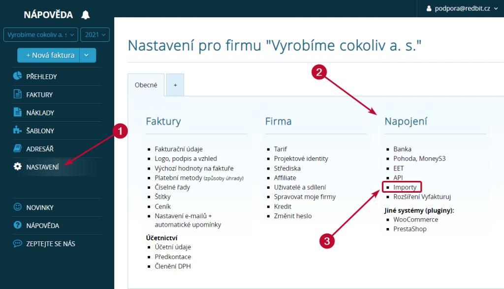 Importy v nastavení Vyfakturuj.cz