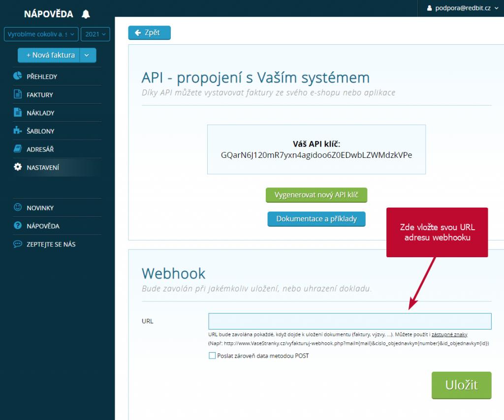 Nastavení URL webhooku
